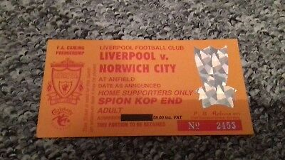 505) Liverpool v Norwich City ticket stub ( last game on standing kop)