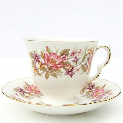 Vintage Colclough Wayside Bone China Floral Tea Cup Saucer Duo