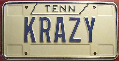 1990s TENNESSEE VANITY PERSONALIZED LICENSE PLATE CRAZY NUTS LOONEY LOCO BONKERS
