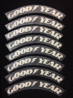 """Permanent 1"""" GOOD YEAR Tire Letter Sticker Graphics Fits 15"""" to 22"""" Tires 8Pcs"""