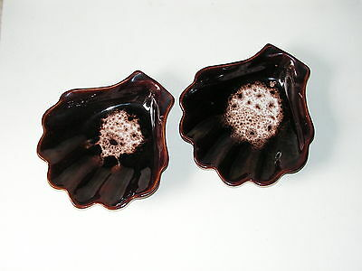 A Pair Of Brown, Honiton, Shell-Shaped Dishes.