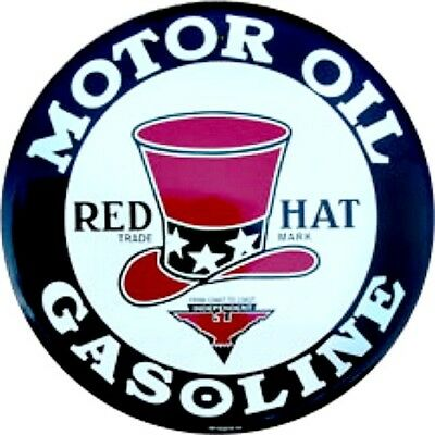 """Red Hat Gasoline Motor Oil 12"""" Round Vintage Style Metal Signs Retro Man Cave"""