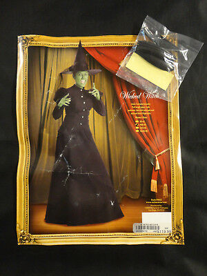Halloween Costume incharacter Adult Wicked Witch Gown Petticoat Hat Nails Size M