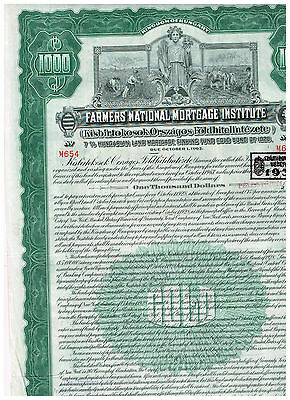 Farmers National Mortgage Institute, Kingdom of Hungary, 1928, 1000$ Gold Bond
