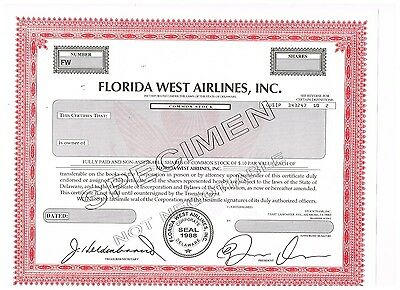 Florida West Airlines, Inc., undated, SPECIMEN