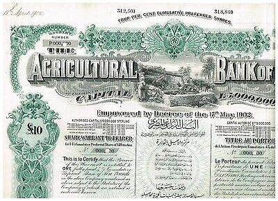 Agricultural Bank of Egypt, 1905, 1 share warrant, nice SPECIMEN