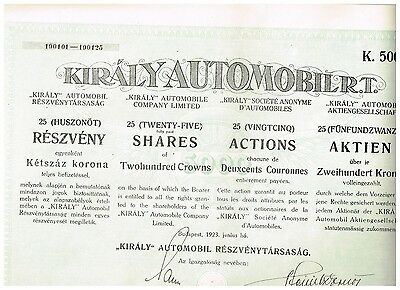 'Kiraly' Automobil AG, Budapest 1923, 25x200 Kronen, ungelocht/ Kupons