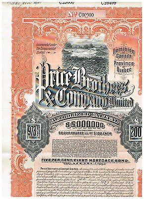 Price Brothers & Co., Ltd. Canada, LB 200 or $ 973 1/3 Bond, nice-rare