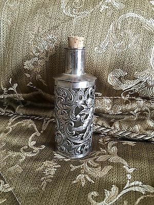 Antique Sterling Silver Repousse Dresser Bottle