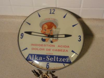 Vintage 1950s Alka Seltzer Clock in Spanish Pron-Tito Sign Porcelain