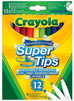 Markers Crayola Supertips Washable - Pack of 12 Children Kids Paint Fun Colours