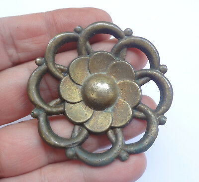 Vintage Solid Brass Round Pull handle Knob #  Free Shipping