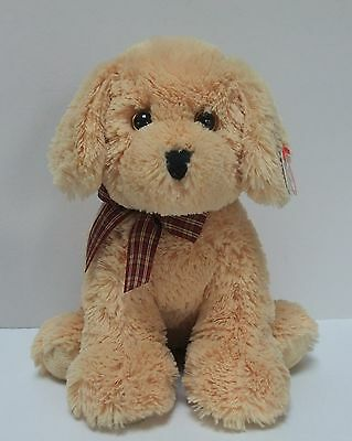 Ty Classic Plush Goldwyn Golden Retriever Dog 10 Inch With Plaid Ribbon Bow