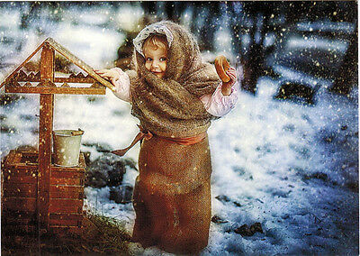 WARMLY DRESSED GIRL WITH BAGEL AT WATER WELL Modern Russian card T.Trishina