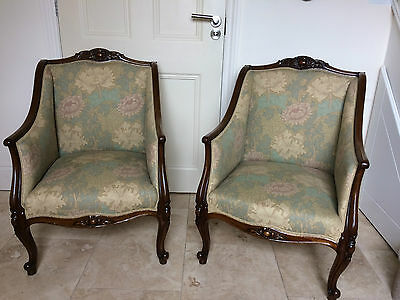 Fabulous Pair Of Victorian Antique Walnut Framed Arm Chairs French Style Rococ0