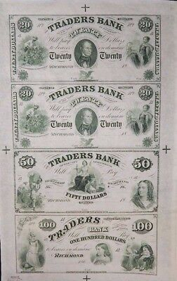 Traders Bank Vintage Reprint Sheet of 4 Notes Obsolete Richmond Virginia