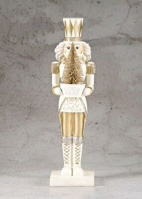 New White, Gold and Silver with Gold Christmas Tree Nutcracker (38cm x 11cm)