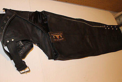 Barneys Leather Chaps Black Sz Small Womens Motorcycle, bobber cafe Cruiser