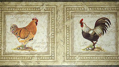ROOSTER Farming Country Wallpaper Border Bathroom Laundry Kitchen Wall Decor