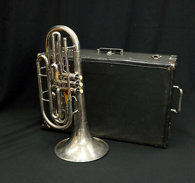 DYNASTY Bb MARCHING TROMBONE {ROUGH NICKEL PLATED FINISH} RECENT SERVICE