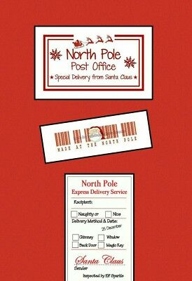 North Pole Barcode Labels and Gift Tags