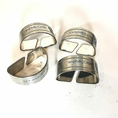 Vintage Stainless Steel Collectable Napkin Rings Caerphilly Castle Advertisement