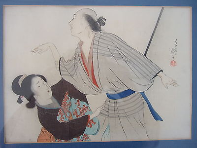 Tomioka Eisen Japanese AntiqueWoodblock Print Bijin-ka (Beautiful Woman)