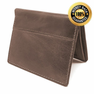 Men's Genuine Cow Hide Leather Credit Card Money ID Holder Slim Trifold Wallet