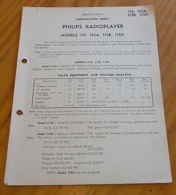 Service Data Modification Sheet Philips Radioplayer Models 115 A-D Radio