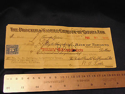 1949 Procter & Gamble Company of Canada Pay to Bank of Toronto Cheque w 3c Stamp