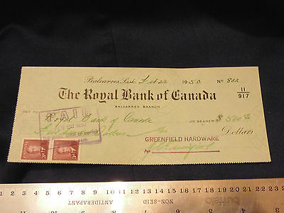 1950 Royal Bank Canada Cheque Pay To Royal Bank of Canada $500 w/ 2 3c Stamps