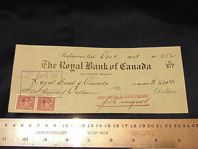 1949 Royal Bank Canada Cheque Pay To Royal Bank of Canada $500 w/ 2 3c Stamps