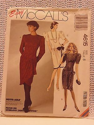 1980's Vintage UNCUT Dress McCall's Brand Sewing Pattern Size 8 # 4615