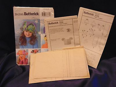 UNCUT Butterick Sewing Pattern EXTREMELY COOL FLEECE HATS & SCARVES -  # B 4306