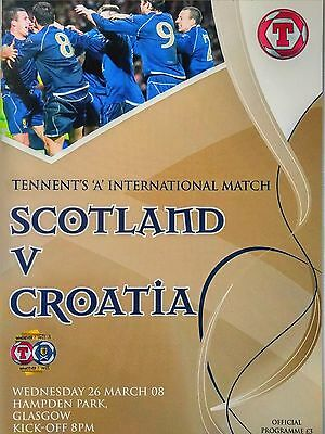 Scotland v Croatia Friendly 26/3/2008 Mint condition.