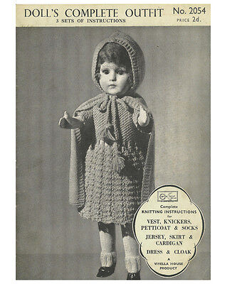 VINTAGE KNITTING PATTERN COPY TO KNIT COMPLETE DOLL'S OUTFIT IN  3PLY-  1930's