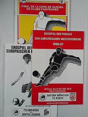 Set of 3 European cup Finals 1986 / 1987 / 1988 . Mint. CHEAPEST ON EBAY .