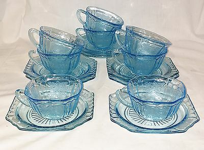 8 Anchor Hocking MAYFAIR/OPEN ROSE BLUE *CUPS & SAUCERS*