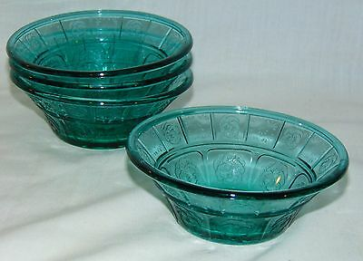"4 Jeannette DORIC & PANSY *ULTRAMARINE * 4 1/2"" BERRY BOWLS*"