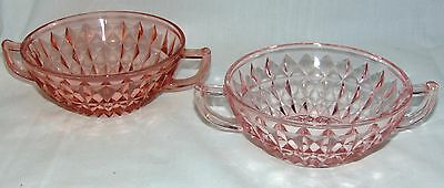 """2 Jeannette WINDSOR PINK *5"""" CREAM SOUP BOWLS* AS IS*"""