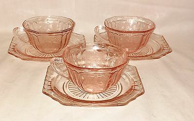 3 Anchor Hocking MAYFAIR/OPEN ROSE PINK *CUPS & SAUCERS*