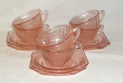 6 Anchor Hocking MAYFAIR/OPEN ROSE PINK *CUPS & SAUCERS*