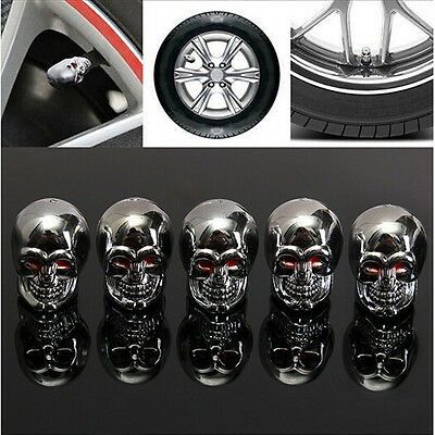 5pcs Car Skull Truck Wheel Tyre Tire Stem Air Valve Caps Dust Covers Accessories