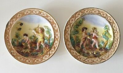 2 Wall-Hanging Plates Marked 428 And 428B Italy, Possibly Capodimonte