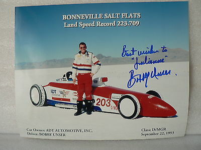 BOBBY UNSER Driver HOF * ORIGINAL AUTOGRAPH SIGNED PHOTO 8 X 10