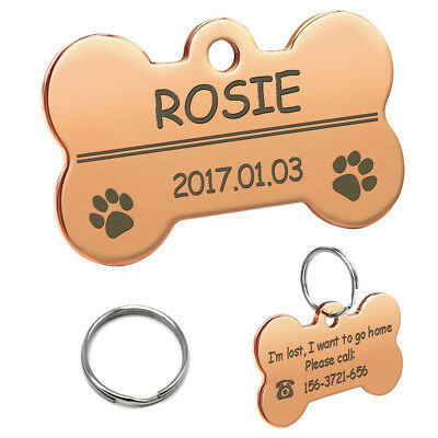 Rose Golden Bone Shape Pet Dog Tags Personalized Engraved Pet Puppy ID Name Tag
