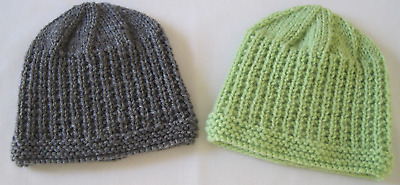 Hand Knitted Baby Beanie Hat For Newborn Green Or Grey