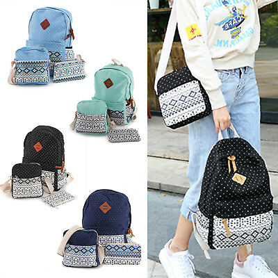 3x Fashion Women Girls Travel Canvas Rucksack Backpack Tote School Shoulder Bag