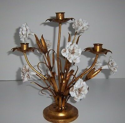Vintage Italian Tole Gold Gilt Floral Candelabra Hollywood Regency Candle Holder