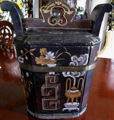 Old Antique Vintage Chinese Wood Carved Lunch Box